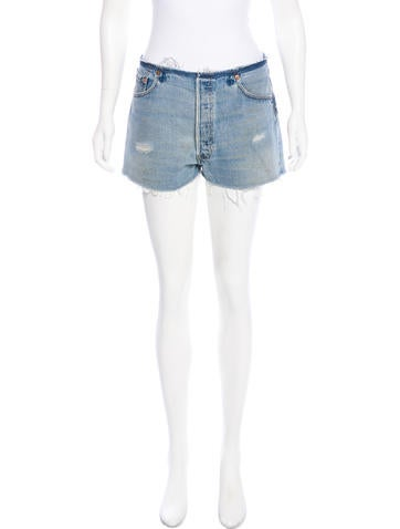 RE/DONE Distressed Denim Shorts None