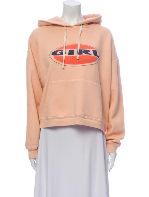 Re/done Graphic Print Crew Neck Sweatshirt Orange