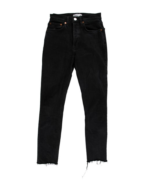 Re/done Mid-Rise Straight Leg Jeans Black