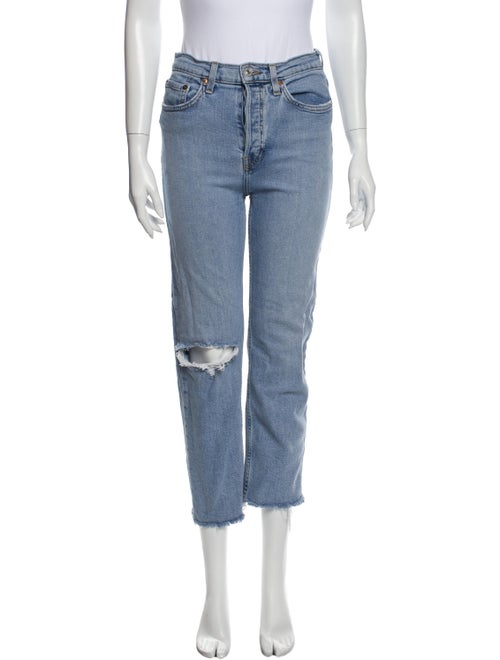 Re/done Mid-Rise Straight Leg Jeans Blue