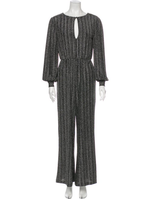 Retrofête Striped Scoop Neck Jumpsuit Metallic