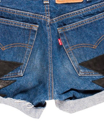 Leather-Accented Denim Shorts