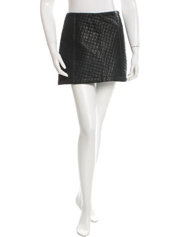 Reformation Quilted Leather Skirt