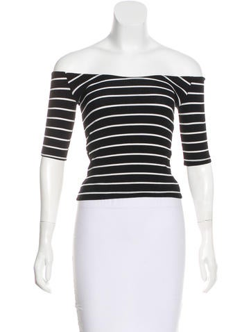 Reformation Three-Quarter Sleeve Striped Top None