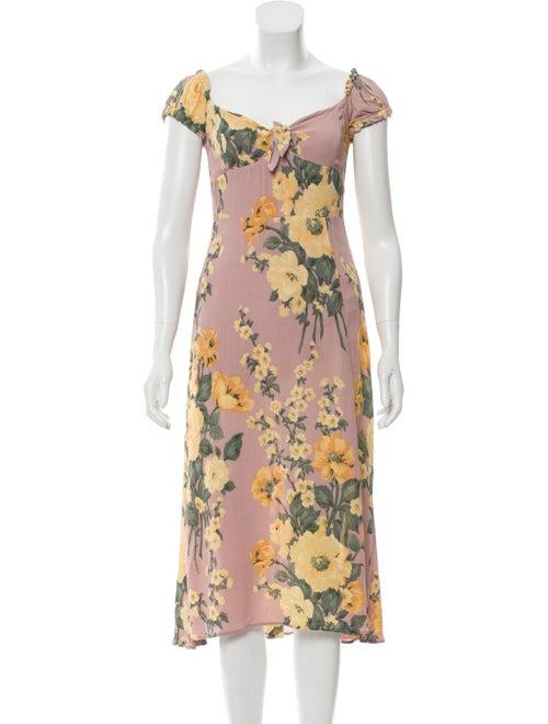 Reformation Floral Midi Dress Beige