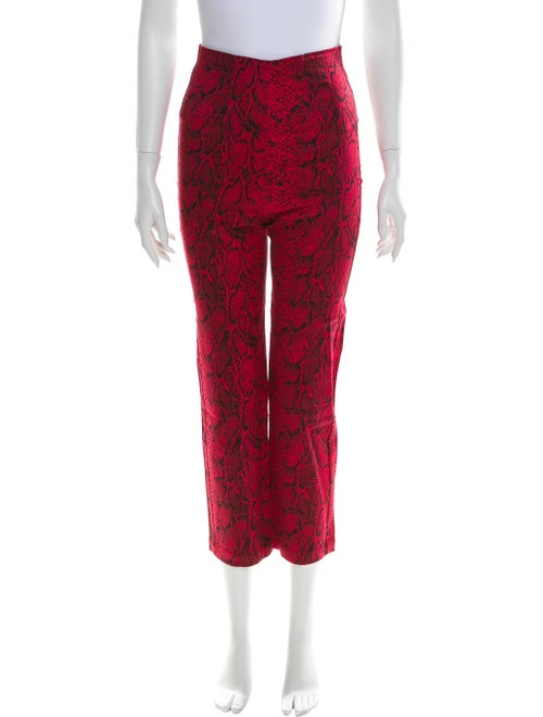 Reformation Animal Print Straight Leg Pants Red