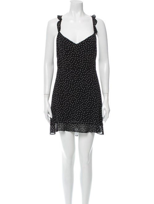 Reformation Polka Dot Print Mini Dress Black
