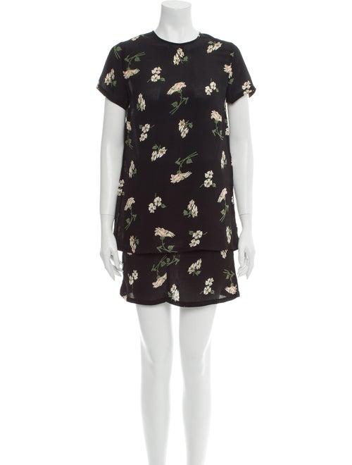Reformation Floral Print Skirt Set Black