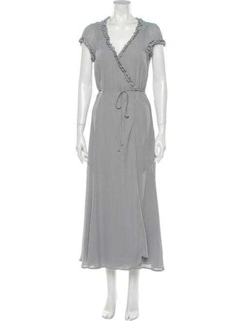 Reformation Ruffle-Trimmed Maxi Wrap Dress Grey