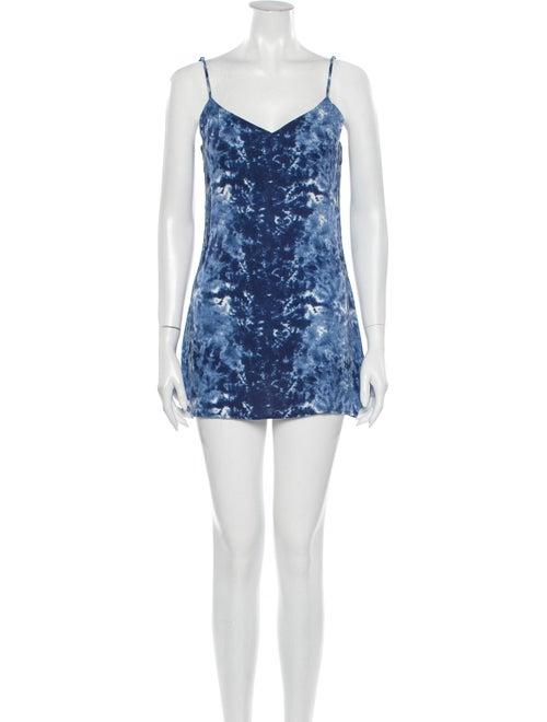 Reformation Tie-Dye Print Mini Dress Blue