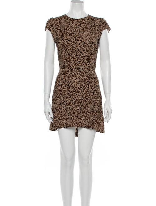 Reformation Animal Print Mini Dress Brown