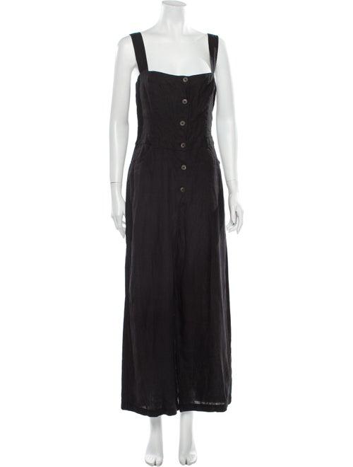 Reformation Linen Square Neckline Jumpsuit Black