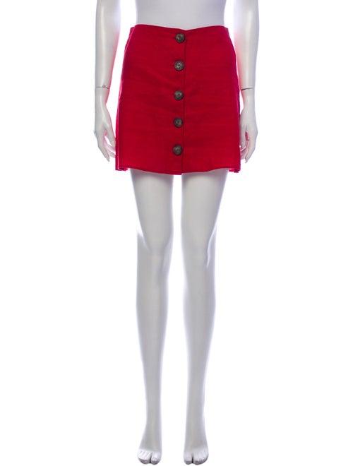 Reformation Linen Mini Skirt Red