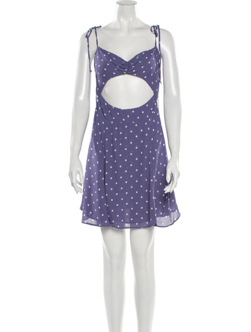 Reformation Polka Dot Print Mini Dress Purple