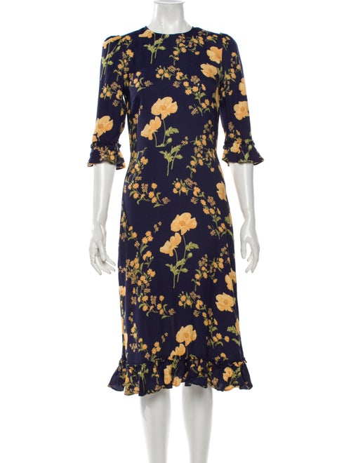 Reformation Floral Print Midi Length Dress Blue