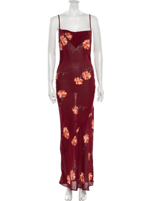 Reformation Floral Print Long Dress Red