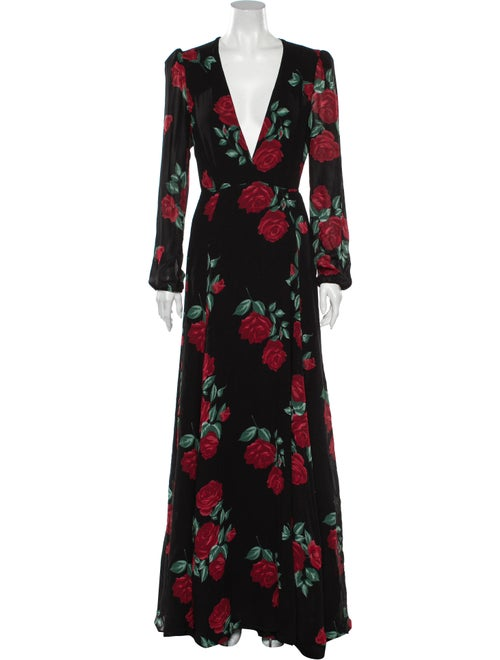 Reformation Floral Print Long Dress w/ Tags Black