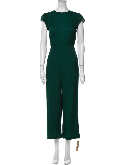 Reformation Emerald Crew Neck Jumpsuit Green
