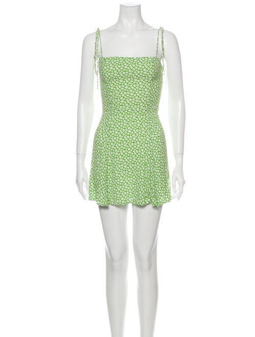 Reformation Floral Print Mini Dress Green