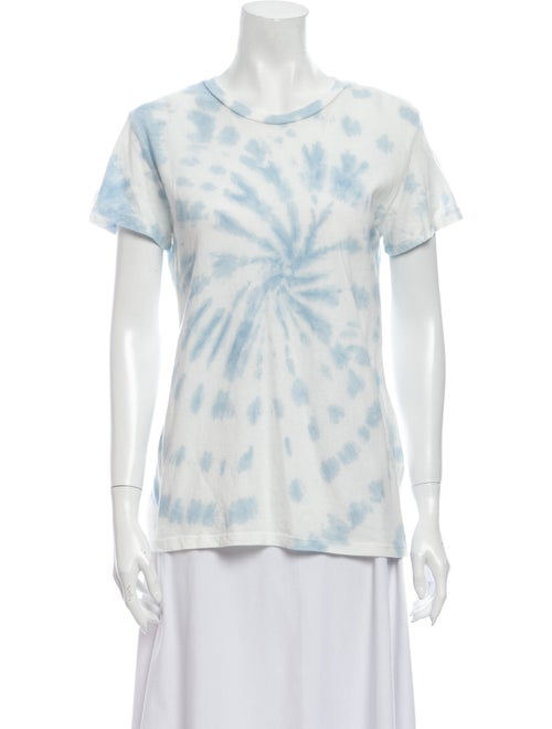 Reformation Tie-Dye Print Scoop Neck T-Shirt Blue - image 1