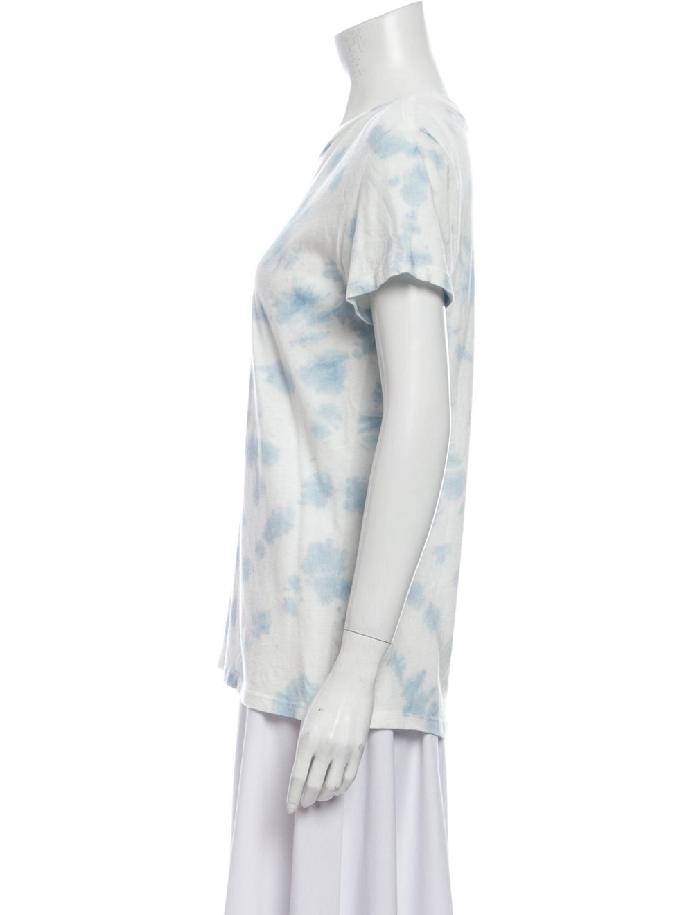 Reformation Tie-Dye Print Scoop Neck T-Shirt Blue - image 2