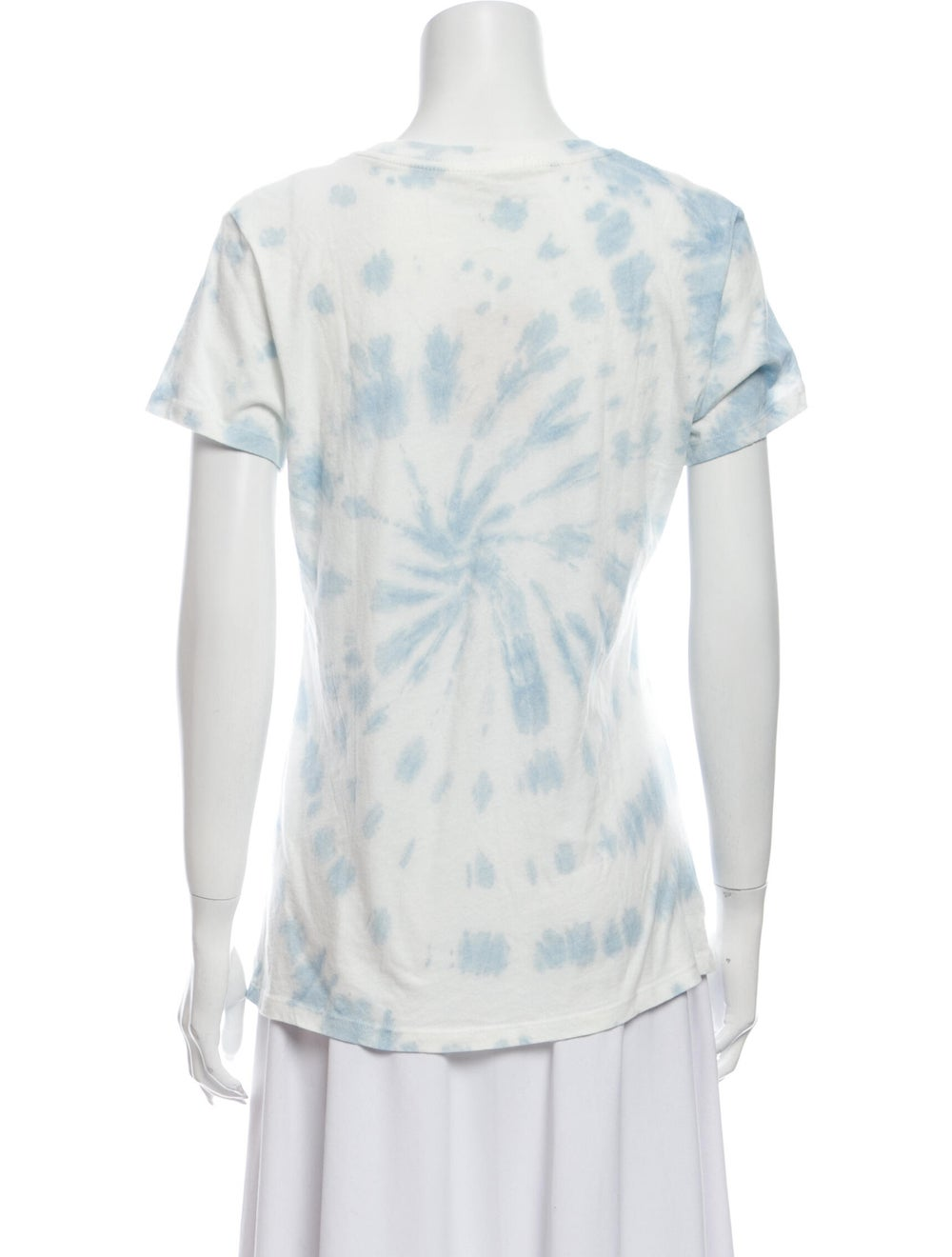 Reformation Tie-Dye Print Scoop Neck T-Shirt Blue - image 3