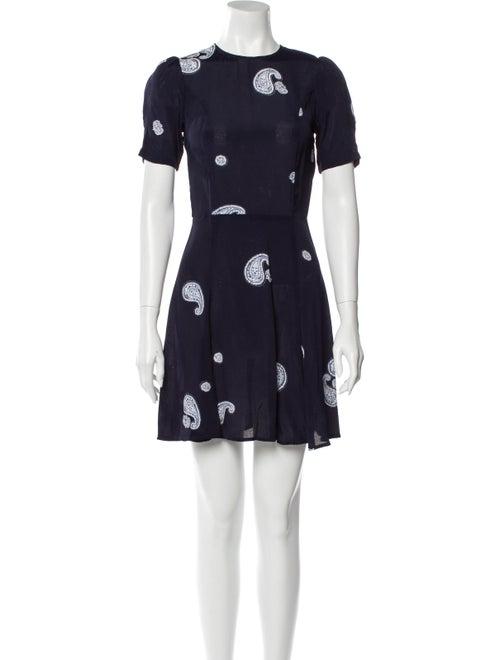 Reformation Printed Mini Dress Blue