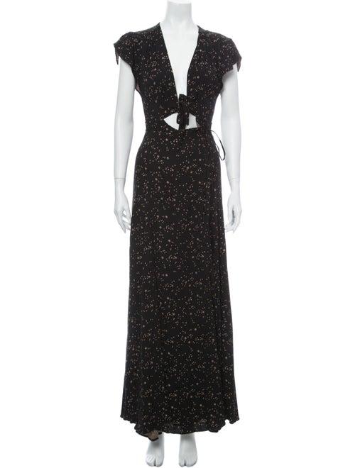 Reformation Printed Long Dress Black