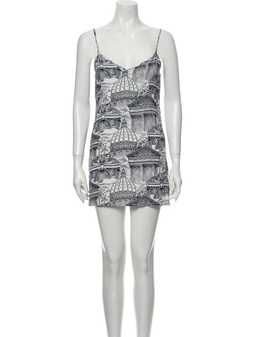 Reformation Printed Mini Dress White