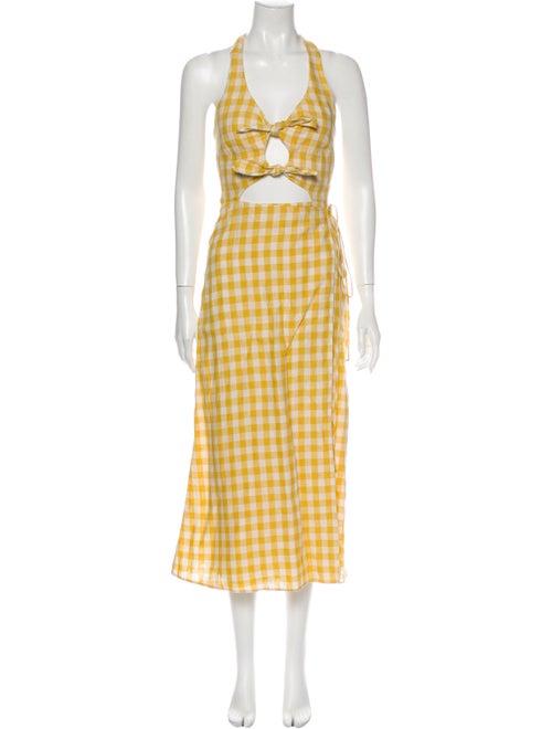 Reformation Linen Long Dress Yellow