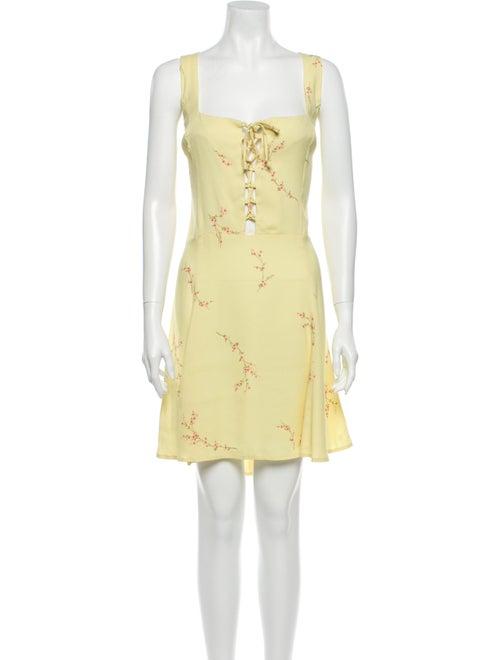 Reformation Floral Print Mini Dress Yellow