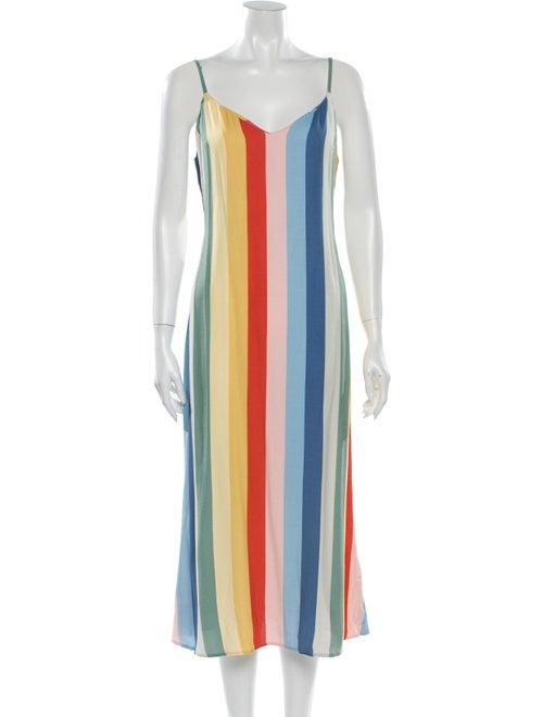 Reformation Striped Midi Length Dress Blue