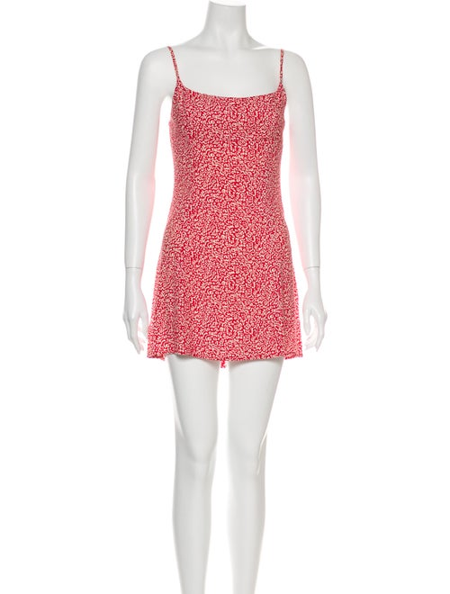 Reformation Printed Mini Dress Red