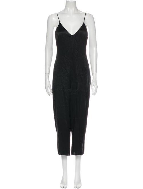 Reformation Silk V-Neck Jumpsuit Black