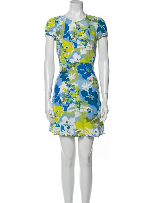Reformation Floral Print Mini Dress Blue