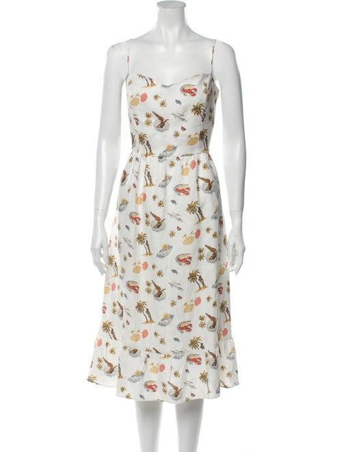Reformation Linen Midi Length Dress White