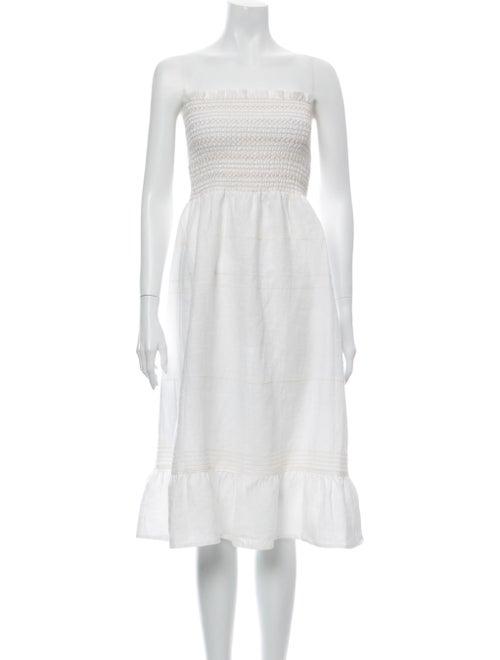 Reformation Linen Knee-Length Dress White
