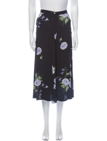 Reformation Floral Print Midi Length Skirt