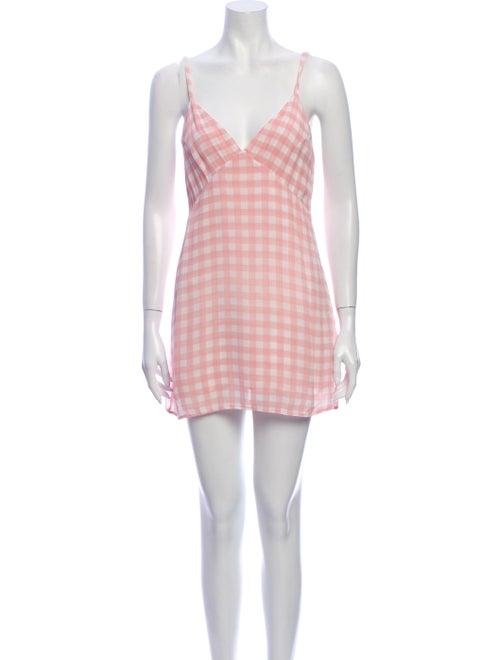 Reformation Plaid Print Mini Dress Pink