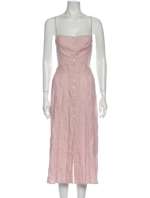 Reformation Plaid Print Midi Length Dress Pink