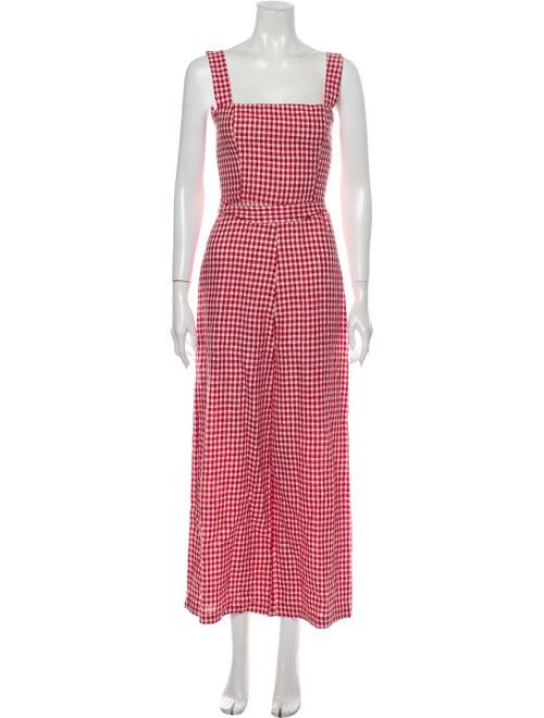 Reformation Linen Plaid Print Jumpsuit Red