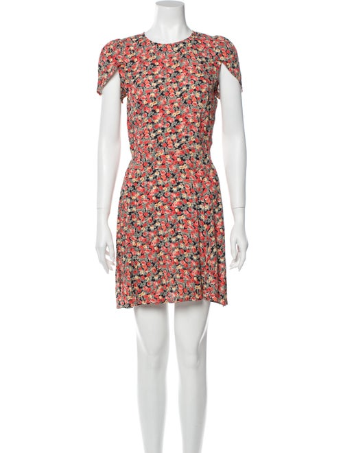 Reformation Floral Print Mini Dress Red