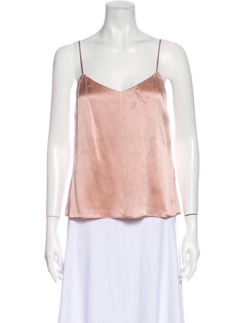 Reformation Silk V-Neck Top Pink