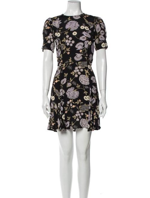 Reformation Floral Print Mini Dress Black
