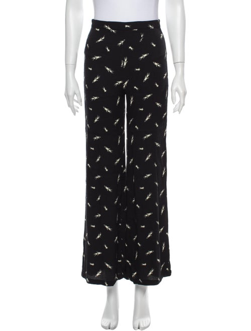 Reformation Printed Wide Leg Pants Black