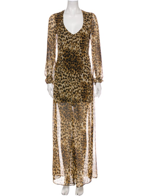 Reformation Animal Print Long Dress Brown