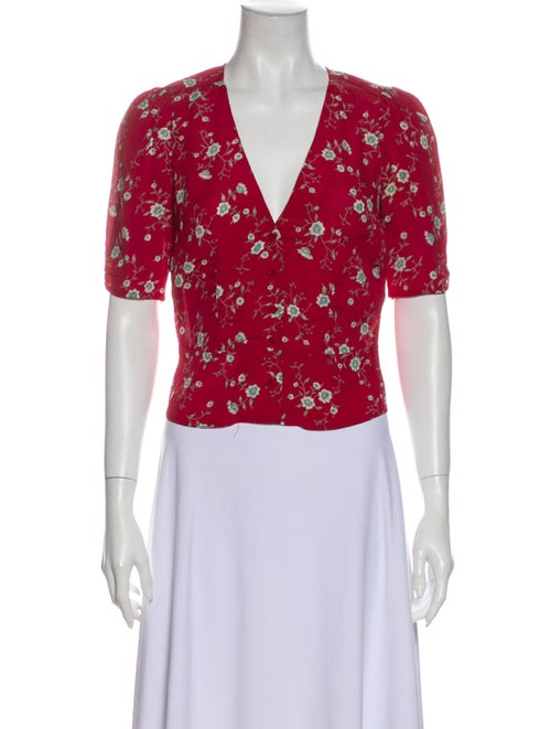 Reformation Floral Print V-Neck Crop Top Red - image 1