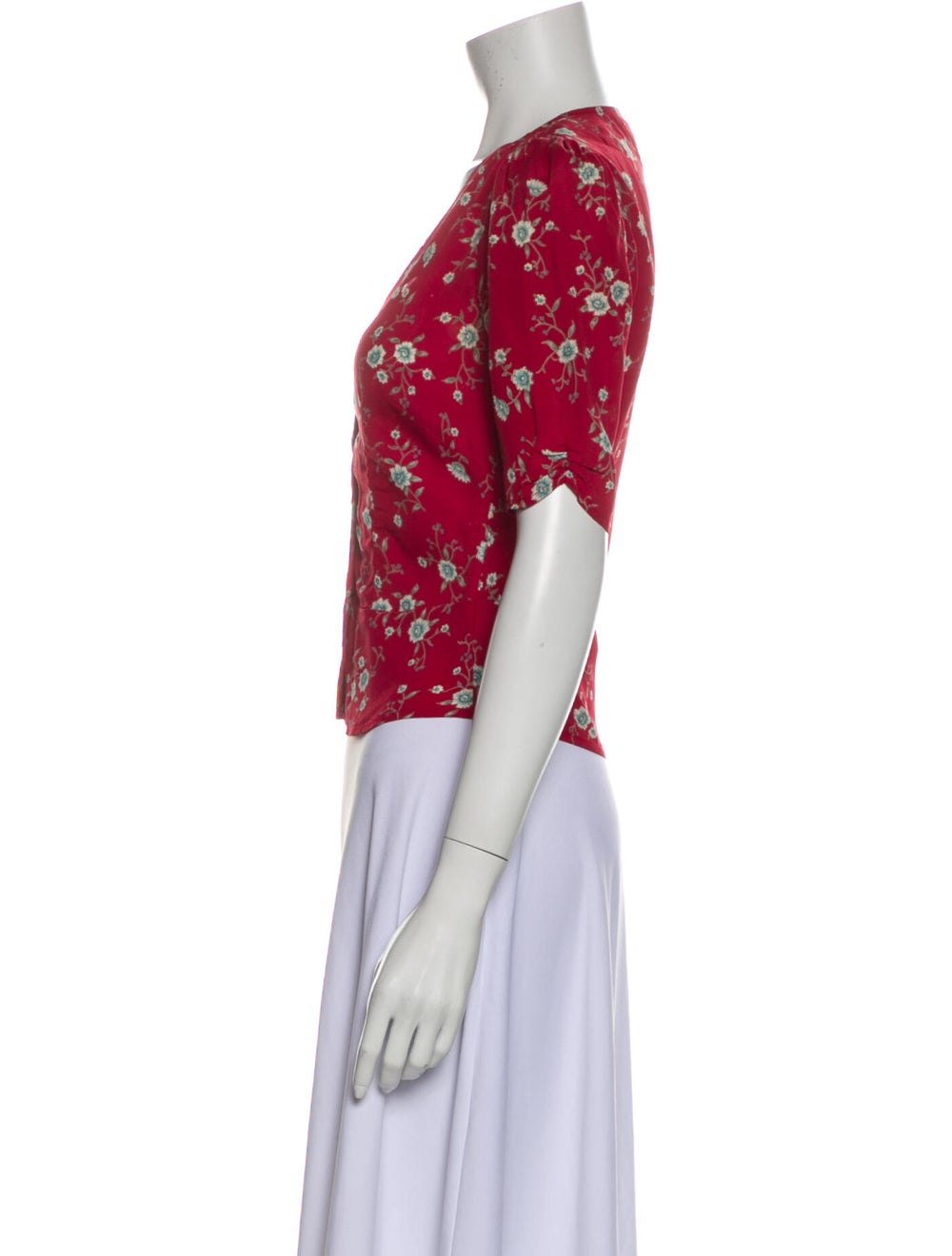 Reformation Floral Print V-Neck Crop Top Red - image 2