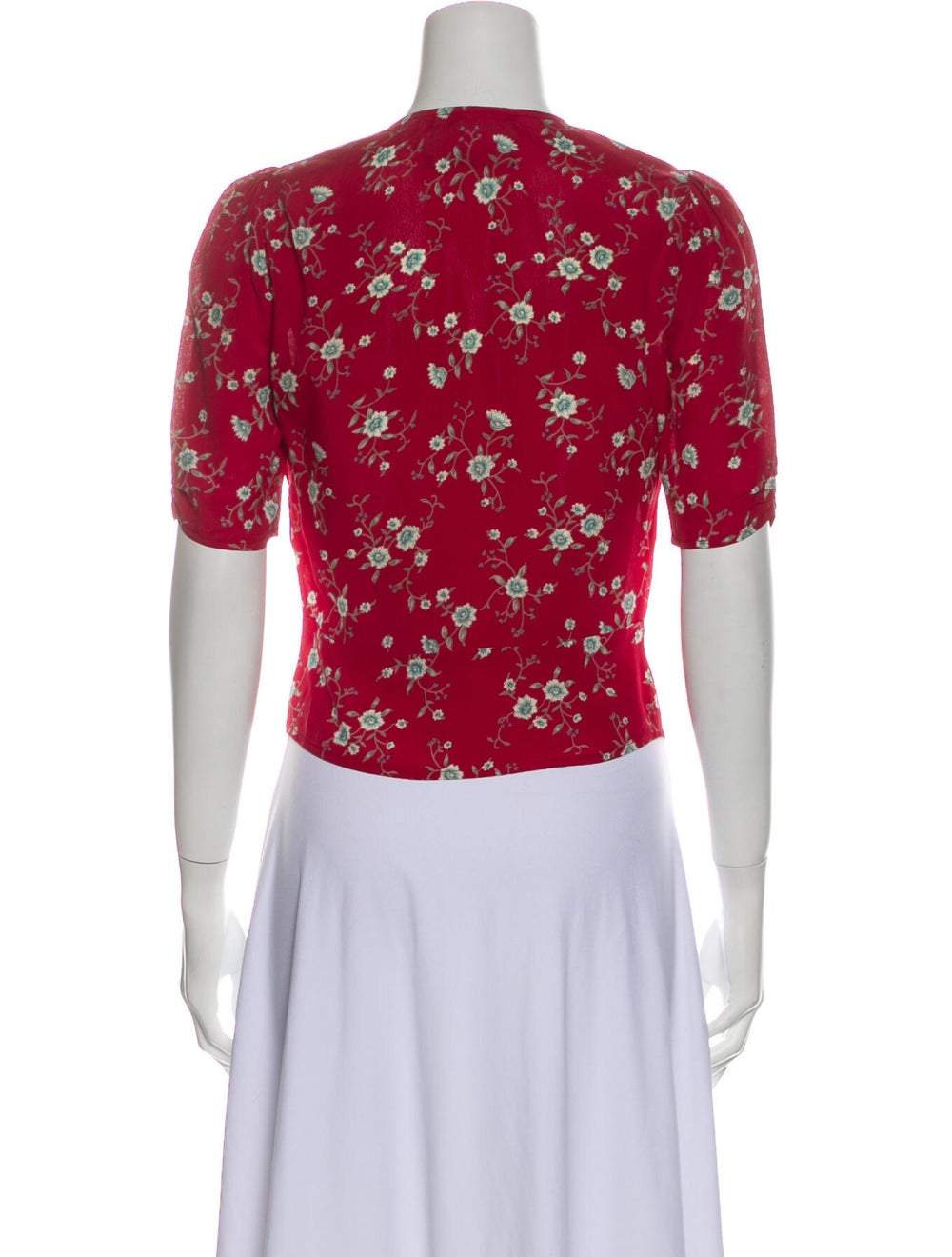 Reformation Floral Print V-Neck Crop Top Red - image 3