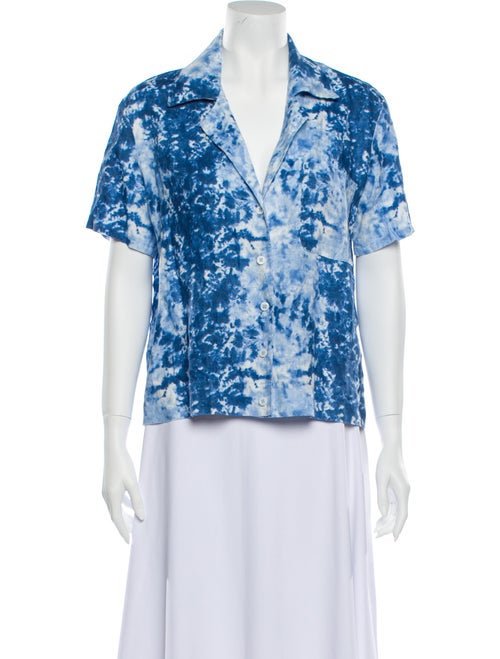 Reformation Linen Printed Blouse w/ Tags Blue